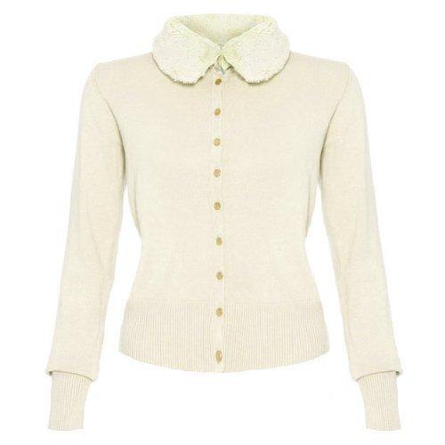 Voodoo Vixen giacca da donna sinlook pelliccia collo lavorato a maglia fine in stile retrò 50