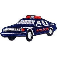 Toppe termoadesive - auto della polizia bambini - blu - 10.6x5.0cm - Patch Toppa ricamate Applicazioni Ricamata da cucire