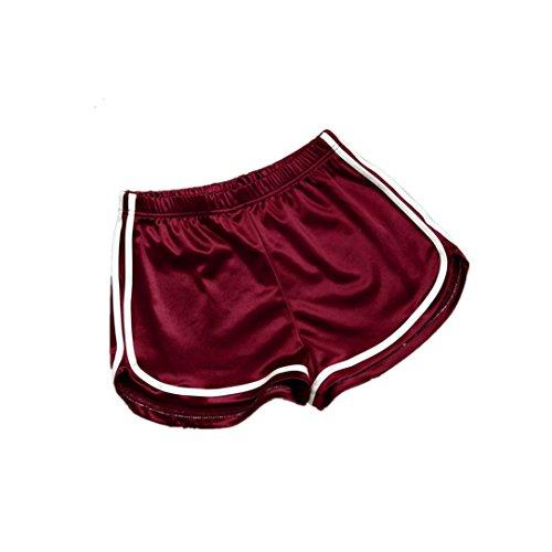 URSING Frauen Sommer Casual Shorts Damen Kurze Hosen Hohe Taille Sport Fitness Shorts Sommerhosen Jogginhose Sporthose Trainingshose Leggings Yoga-Hose Retro Running Hosen Hot Pants (S, Rot)