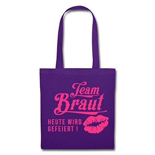 Junggesellinnenabschied Team Braut Kussmund Stoffbeutel von Spreadshirt® Lila
