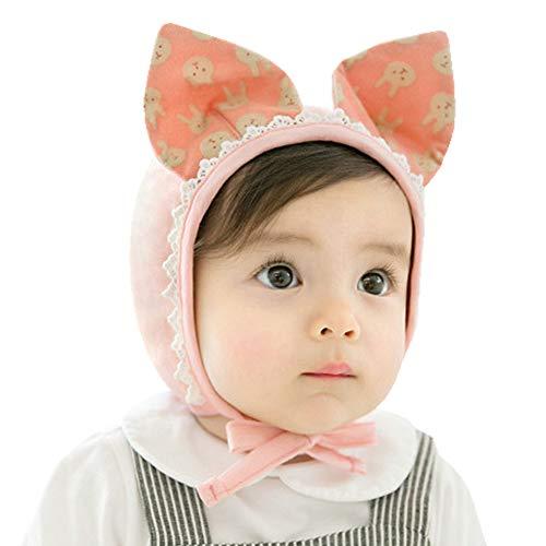 Camilife Baumwolle Erstlingsmütze Babymütze Mützchen für 0-24 Monate Baby Neugeborenes Säugling Kleinkind Jungen Mädchen Mütze - Einfarbig Kätzchen Pink