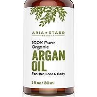 Aceite de argán ORGÁNICO Aria Starr Beauty para pelo, piel, cara, uñas, barba y cutículas - El mejor aceite marroquí.