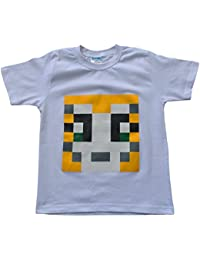 Girls Boys Unisex Stampy Cat Unisex T-shirt You Tuber StampyLongNose Youtube Tee PIXEL (7-8 Years, White)
