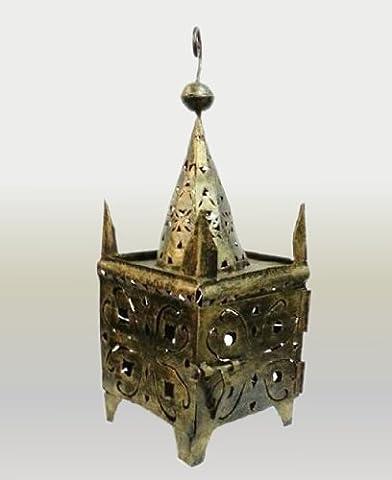 Kasbah Hectagonal top Moroccan hand pierced metal floor / Ceiling lantern - Square Design -W32 D32 H 75 Cm