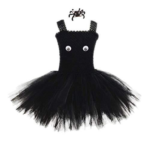 Röcke Mit Kostüm Puffy - Amosfun Halloween mädchen Tutu Kleid mit spinne Haarspange Maskerade Leistung Party Dress up kostüm Puffy tüll Rock Baby Kinder Halloween Outfits 1 Satz (größe m)