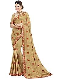 Aarti Apparels Women's Designer Embroidered Georgette Saree_SNSR-9004_Gold