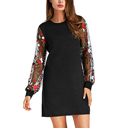 Damen Botanical Embroidered Mesh Sleeve Kleid Langärmliges Kleid mit A-Linie Abend Cockteil Partykleid Midikleid Zolimx (Eine Kleider Erstkommunion Linie)