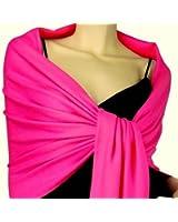 Stunning Plain Pashmina Shawl Scarf Wrap 9 Colours New - Hot Pink
