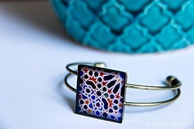 Bracelet Mosaiques Bleues - Bijou Photographique des Mosaïques de l'Alhambra - Bijou en résine écologique - Une belle idee Cadeau de Saint Valentin pour femme
