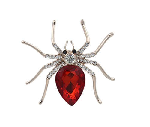 totoroforet-broche-goujon-mujer-chapado-de-oro-zircon-magical-spider-arana-ropa-accessoires-red-pass