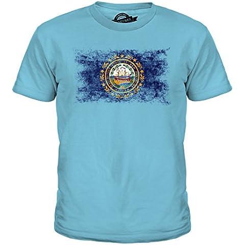 CandyMix Stato Del New Hampshire Bandiera Effetto Consumato Unisex Bambino Ragazzi/Ragazze T-Shirt