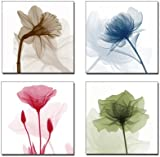 Wieco Art - Flickering Flowers 4 Panels Modern Floral Giclee Canvas Prints Artwork Pictures Paintings on Canvas Wall Art Décor for Living Room Bedroom Home Decorations