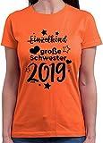 HARIZ  Damen T-Shirt Rundhals Einzelkind Große Schwester 2019 Sterne Große Schwester Geburtstag Baby Geburt Inkl. Geschenk Karte Orange XL