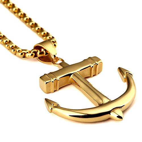 Kangqifen Schmuck Herren Damen Halskette,18K Vergoldet Anchors Anhänger Halskette,70cm (Tumblr Kostüm Mädchen Vampir)