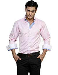 DAZZIO Solid Slim Fit Pink Fomal Shirt (Please Refer Size Chart)