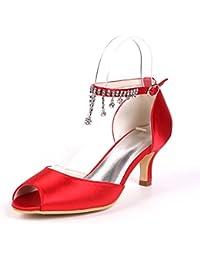 Qingchunhuangtang@ Fisch Mund hochhackigen Sandalen/Satin face/Mode Schuhe/Strass/Mittlerer ferse schuhe/Groszlig;...