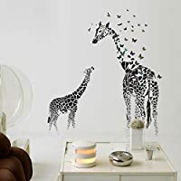 QWEDSA Large Giraffe Wall Sticker Removable Vinyl Wall Decals Wild Animals Butterfly Black for Home Living Room Decoration