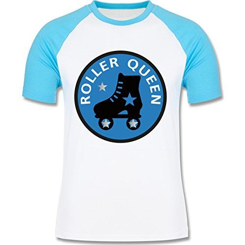 Vintage - Roller Queen Rollschuh - zweifarbiges Baseballshirt für Männer Weiß/Türkis