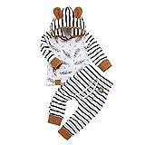LEXUPE Neugeborenes Baby-Jungen-mit Kapuze T-Shirt übersteigt die eingestellte Feder-gestreifte Hosen-Kleidung(Weiß,80)