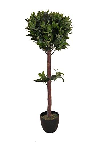 Homescapes Deko Kunstpflanze Formgeschnittener Lorbeerbaum Höhe ca.Kunstbaum mit Formschnitt im Topf, Künstliche Pflanzen