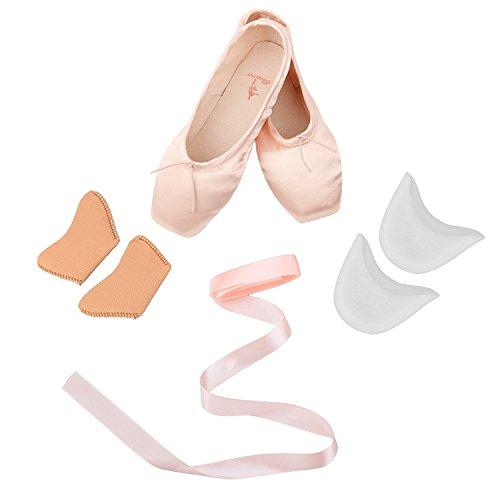 d86152ae0d73 Skyrocket Mujeres y Niñas Satén Pointe Zapatos Puntas de ballet Pack de 1  puntera de gel