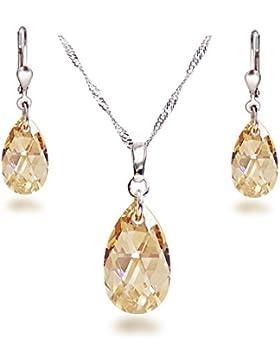 Schöner SD, Schmuckset mit Swarovski® Kristall Tropfen in Crystal Golden Shadow, 925 Silber Rhodium