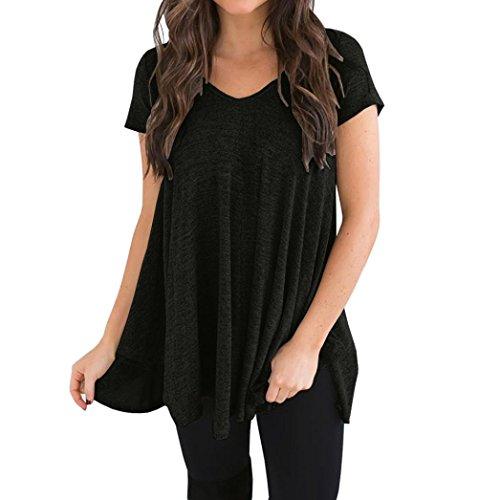 VEMOW Elegant Damen Damen Mädchen Plus Size Kurzarm V-Ausschnitt Unregelmäßiger Saum Lose Casual T-Shirt Top Bluse(Schwarz, EU-44/CN-S)