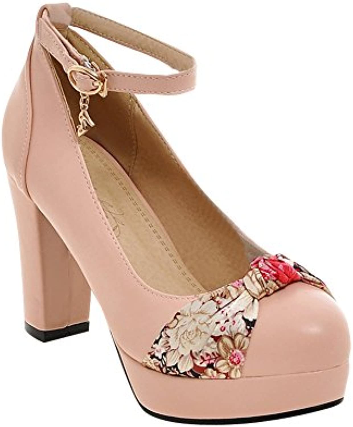 Mee Shoes Damen Ankle strap Plateau Schleife chunky heels Pumps