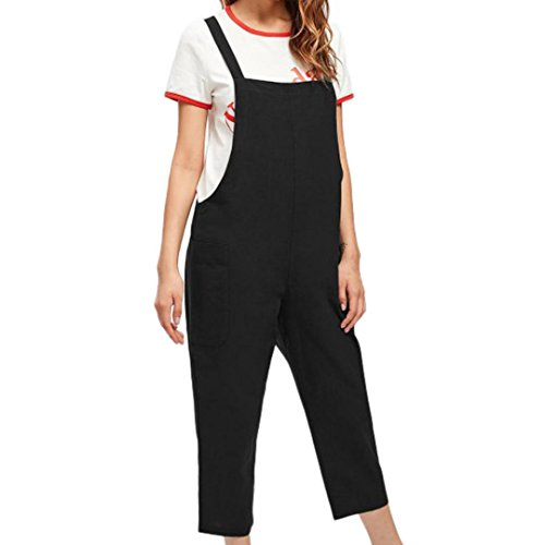Kobay Women Playsuit Pants, Casual Dungarees Loose Cotton Pockets Rompers Jumpsuit