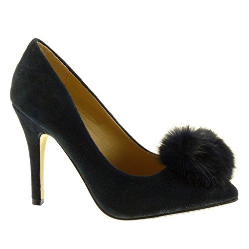 Angkorly Damen Schuhe Pumpe - Stiletto - Dekollete - Bommel Stiletto High Heel 10 cm Blau