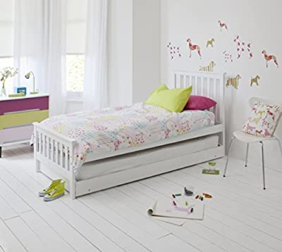 Single Bed in White with Trundle, Extra Sleepover Bed 2 in 1 , Millie