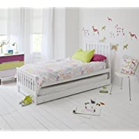 Noa and Nani - Millie Single Bed with Pullout Trundle | 2 in 1 Extra Sleepover Bed - (White)