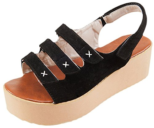 La Vogue Sandale Compensé Plateforme Spartiate Chaussure Casual Marche Bout Ouvert Plage Eté Noir