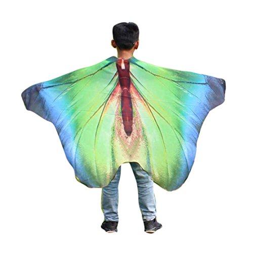 Kinder Schmetterling Schal 147 * 100CM,Loveso Kind Kinder Jungen Mädchen Schmetterling Flügel Schals Fairy Göttin Karneval Damen Nympho Pixie Cosplay Weihnachten Kostüm Zusatz (147 * 100CM, Blau) (Kind Blaue Göttin Kostüm)