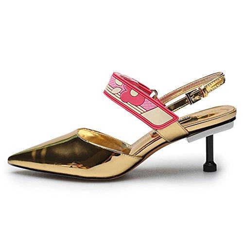 Damen Pumps Kitten-Heel Spitze Zehen Glitzer Leder Knöchelriemchen Gold