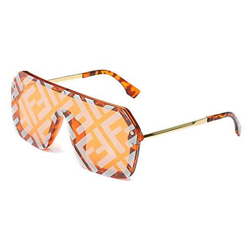 HoaJeo Sonnenbrille, Überdimensional Quadratische Sonnenbrille Buchstabe Spiegel Überzug Sonnenbrille Mode für Herren Damen - Gelb
