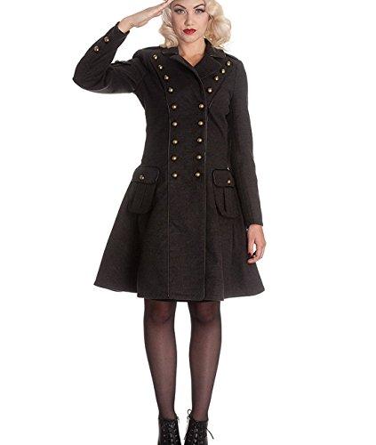 Hell Bunny Imma Retro Coat MILITARE - a forma di donna Military westhome cappotto grigio dall'acciaio 4XL grigio X-Small