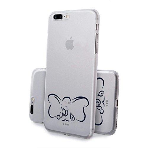 finoo   iPhone 8 Plus Handy-Tasche Schutzhülle   ultra leichte transparente Handyhülle in harter Ausführung   kratzfeste stylische Hard Schale mit Motiv Cover Case  Elefant line art Elefant line art