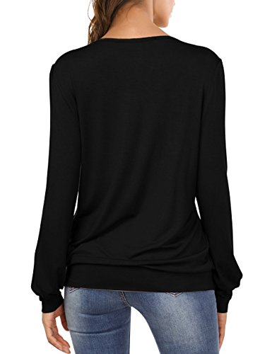 DJT Femme T-Shirt Manches Longues Hauts Plisse Devant Elastique Casual Col Rond Top Noir