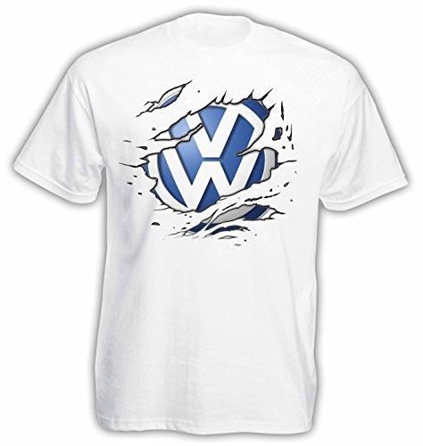 VW Ripped Logo Herren T-Shirt Kurzarm ( Weiss , S ) (Design Ripped)