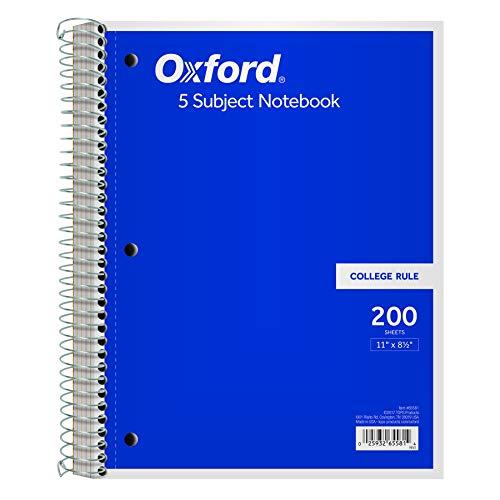 Tops 5-subject Notizbuch, Drahtkammbindung, College Rule, 21,6x 27,9cm, weiß, 200Blatt pro Buch, Color Cover kann variieren (65581)