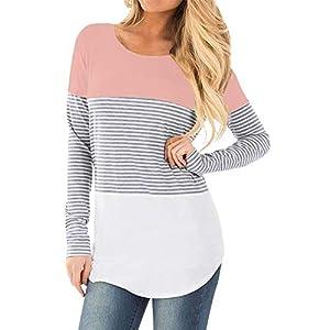 STRIR-Camiseta-De-Mujeres-Ropa-para-La-Lactancia-De-Maternidad-De-Raya-para-Mujeres-Las-Mujeres-Embarazadas-Maternidad-EnfermerA-Raya-Lactancia-Top-Camiseta-Blusa-CModo-Y-Elegante-S-Rosa