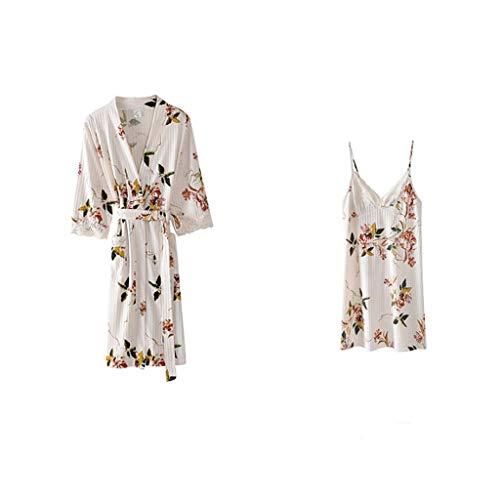 Baumwolle Satin Robe (DWLXSH Sommer Luxuriöse Kimono Weiche Satin Robe, Bademantel Nachthemd Frauen Sommer Baumwolle Sexy Dünne Spitze Sling Nachthemd Lose Plus Size Pyjamas Zweiteiler)