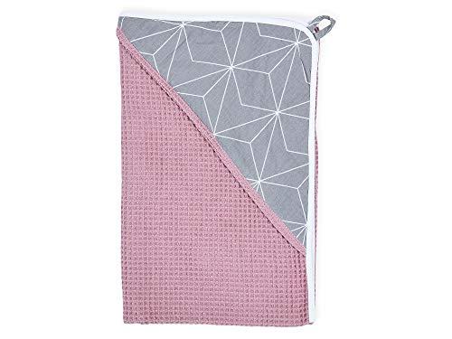 Baumwolle Kapuzen-mütze (KraftKids Kapuzenhandtuch Waffel Piqué rosa weiße dünne Diamante auf Grau, Kapuzen-Badetuch für Babys und Kleinkinder aus Baumwolle, 75 x 75 cm)