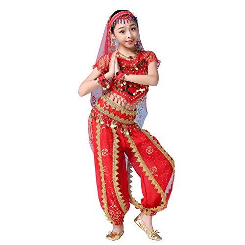 Wgwioo Mädchen Bauchtanz Kostüm Set, Indische arabische Prinzessin Halloween Karnevalsbekleidung für Kinder,Red,M