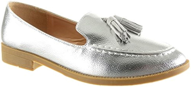 Angkorly - damen Schuhe Mokassin - Slip-On - genarbtem - Fransen Blockabsatz 2 CM