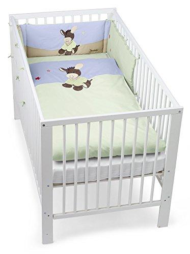 Sterntaler Bett-Set, Kopfkissen, Bettdecke und Bett-Nestchen, Esel Emmi, Alter: Für Babys ab der Geburt, Grün/Blau
