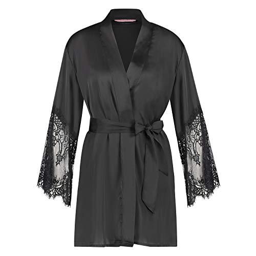 HUNKEMÖLLER Damen Kimono Lace Satin Schwarz XS/S