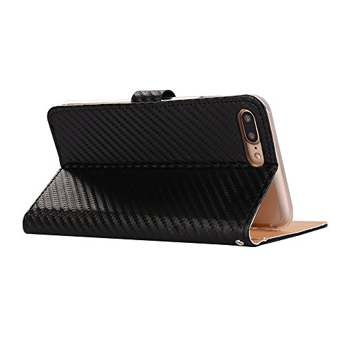 "MOONCASE iPhone 7 Plus/7G Plus Case, [Stripes Pattern] PU Leather Flip Kickstand Case Cover for iPhone 7 Plus/7G Plus 5.5"" Livre Style Folio Cartes Slot Portefeuille Coquille Noir 03 Noir 01"