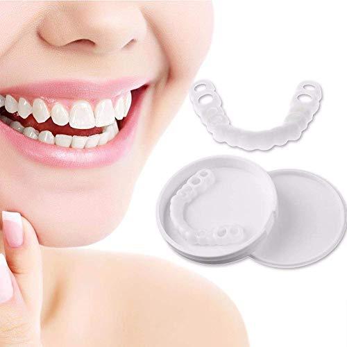 HUAJIE Snap on Smile Teeth Braces komfortable Kosmetische Erwachsene Zahn Oben und Unten Falschen Zähnen,Upperteeth+lowerteeth
